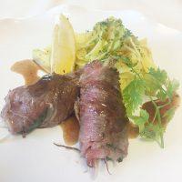 香味野菜の牛肉巻き さっぱり梅ポン酢ソース