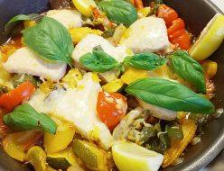 夏野菜とかじきまぐろのオーブン焼き