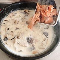 秋鮭ときのこのクリームパスタ⑤